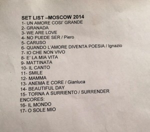 Set list - Il Volo in Moscow