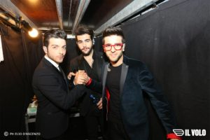 Il Volo holding shaking hands Elio D'Ascenzo