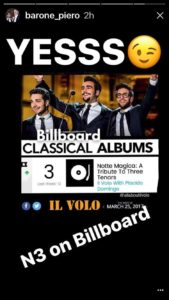 Il Volo Billboard 15march2017 Piero insta