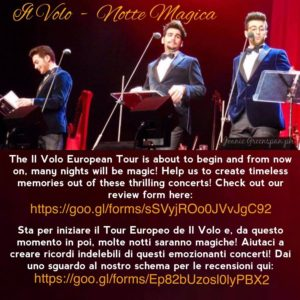 Il Volo European Tour 2017 review form